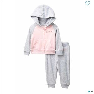 Juicy Couture Baby Girl Velour Hoodie & Pants Set